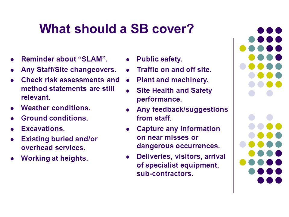 What should a SB cover Reminder about SLAM .