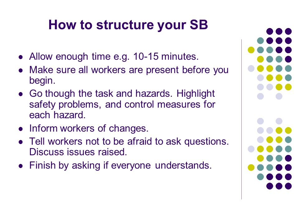 How to structure your SB