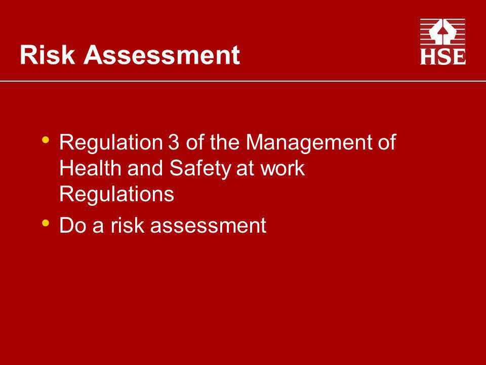 Risk Assessment Regulation 3 of the Management of Health and Safety at work Regulations. Do a risk assessment.