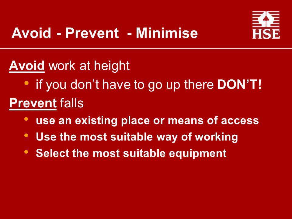 Avoid - Prevent - Minimise