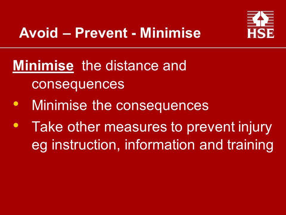 Avoid – Prevent - Minimise