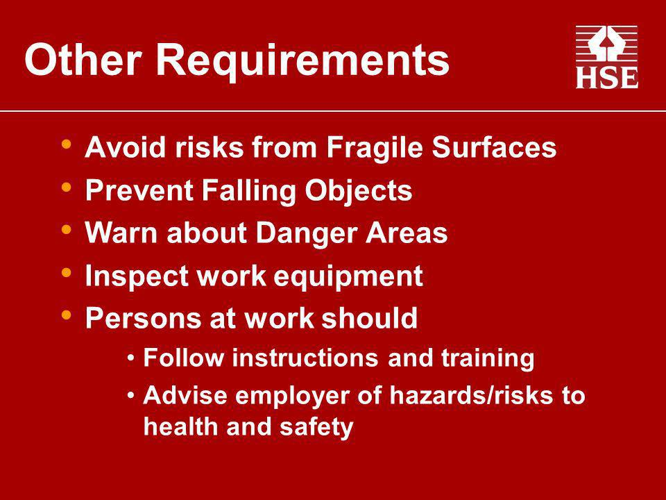 Other Requirements Avoid risks from Fragile Surfaces
