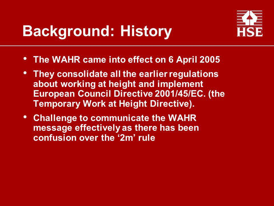 Background: History The WAHR came into effect on 6 April 2005