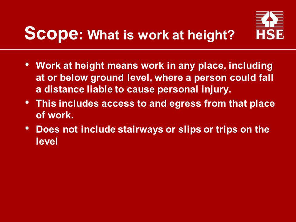Scope: What is work at height
