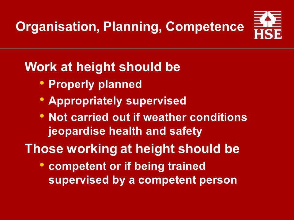 Organisation, Planning, Competence