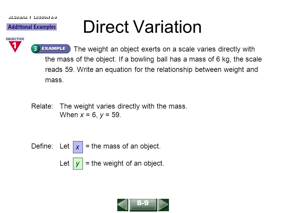 direct variation Use this free online constant of variation calculator to find the direct variation equation for the given x and y values enter the x and y values in this direct variation calculator and submit to know the equation with ease.