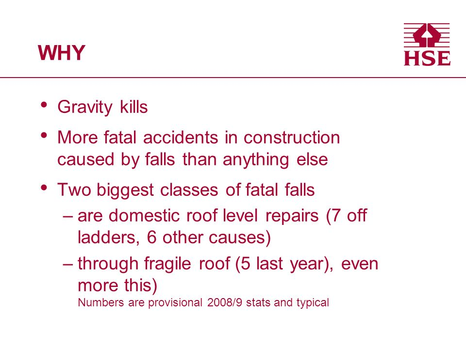 WHY Gravity kills. More fatal accidents in construction caused by falls than anything else. Two biggest classes of fatal falls.