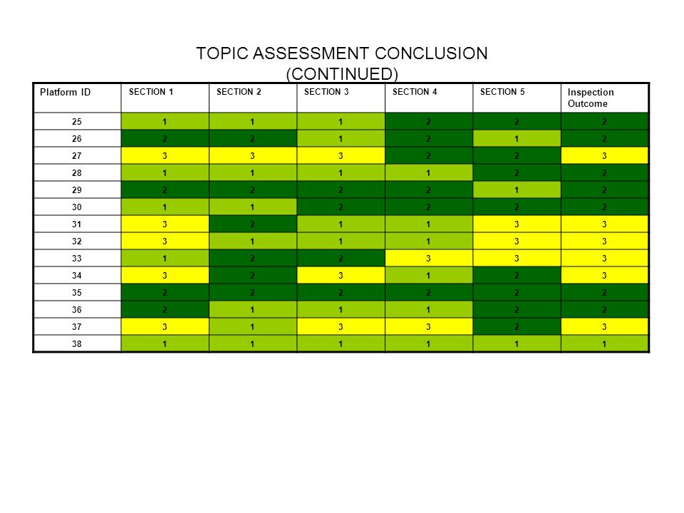 TOPIC ASSESSMENT CONCLUSION (CONTINUED)