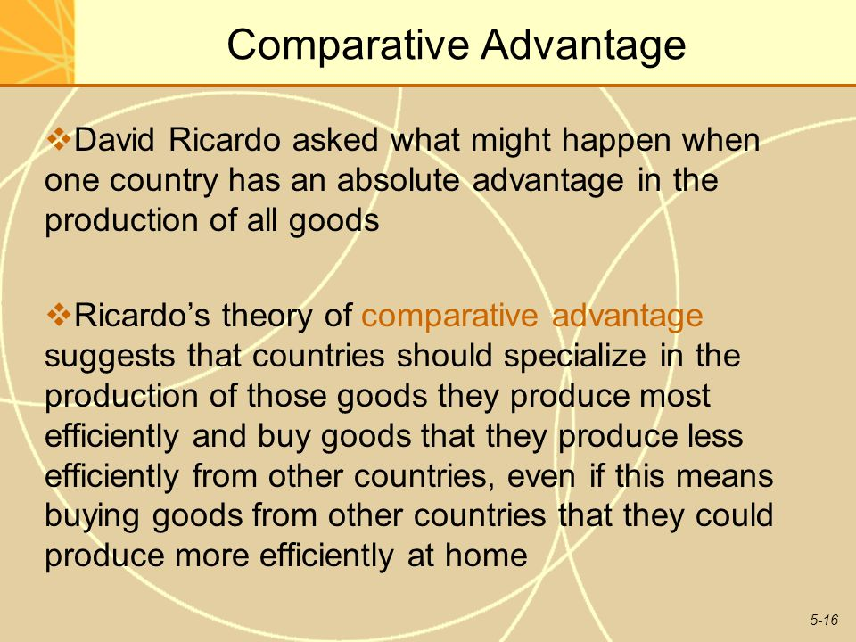 the concept and sources of comparative advantage Comparative advantage a country has a comparative advantage if it can produce a good at a lower opportunity cost than another country a lower opportunity cost means it has to forego less of other goods in order to produce it therefore the output of both goods has increased illustrating the gains.