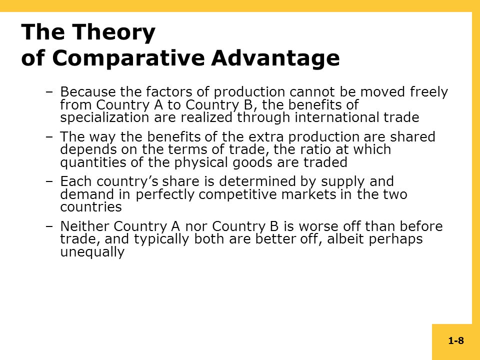 theory of comparative advantage David ricardo and comparative advantage the theory of comparative advantage david ricardo, working in the early part of the 19th century, realised that absolute advantage was a limited.