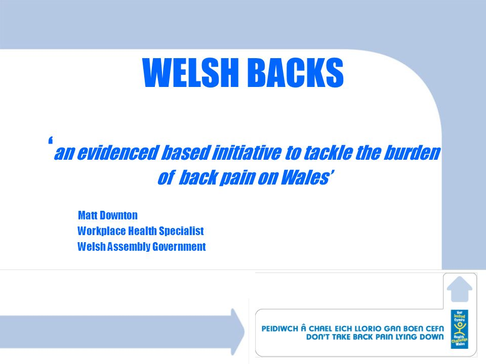 Matt Downton Workplace Health Specialist Welsh Assembly Government