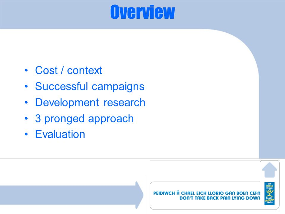 Overview Cost / context Successful campaigns Development research