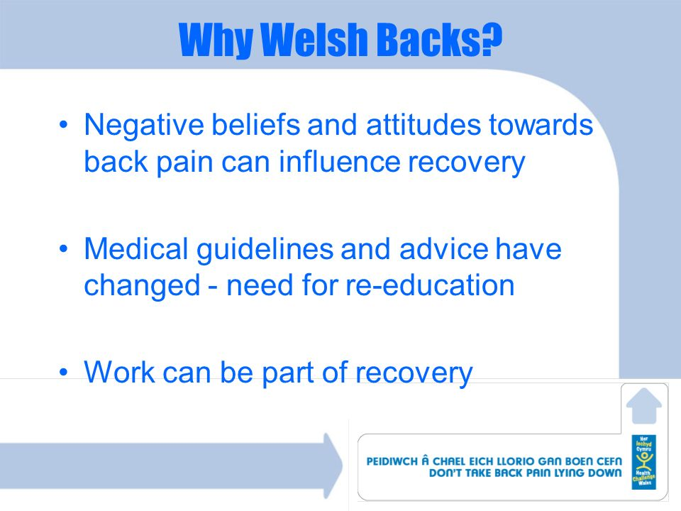 Why Welsh Backs Negative beliefs and attitudes towards back pain can influence recovery.