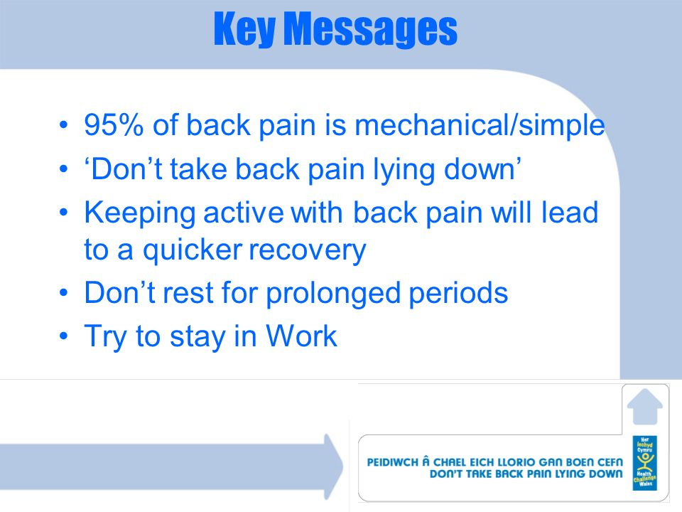 Key Messages 95% of back pain is mechanical/simple