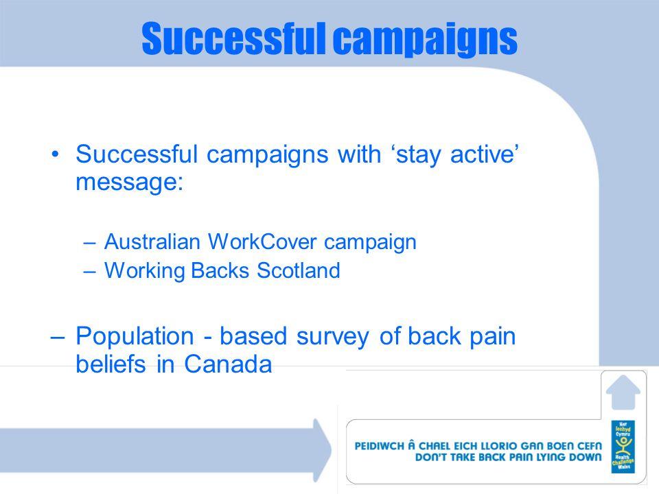 Successful campaigns Successful campaigns with 'stay active' message: