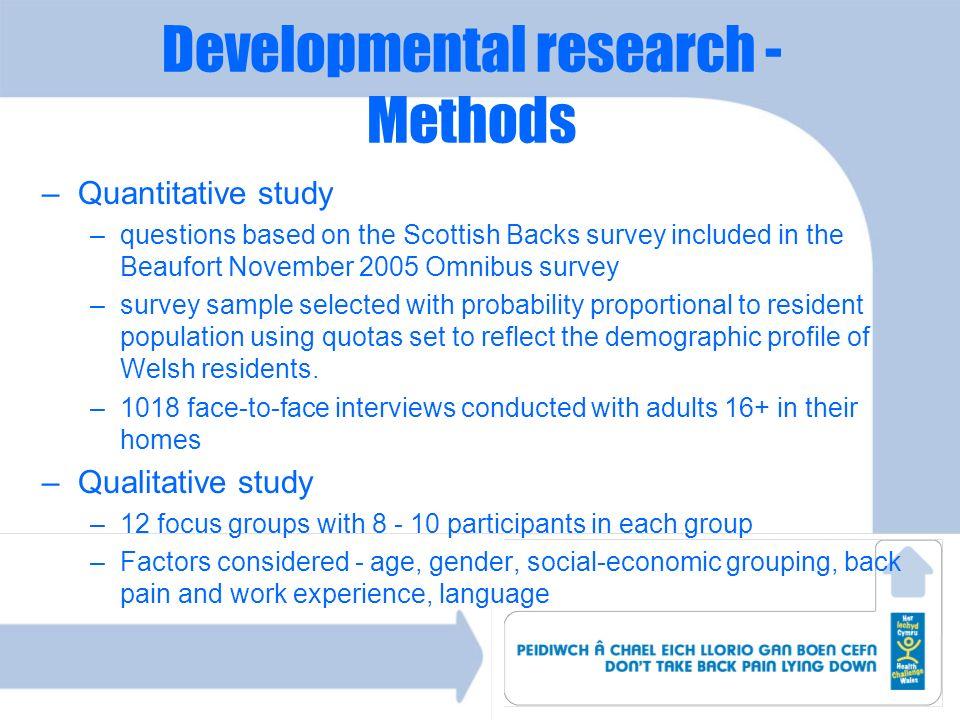 Developmental research - Methods