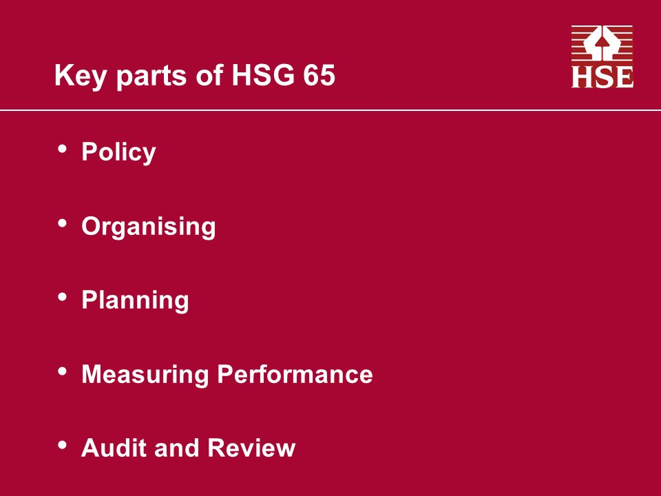 Key parts of HSG 65 Policy Organising Planning Measuring Performance