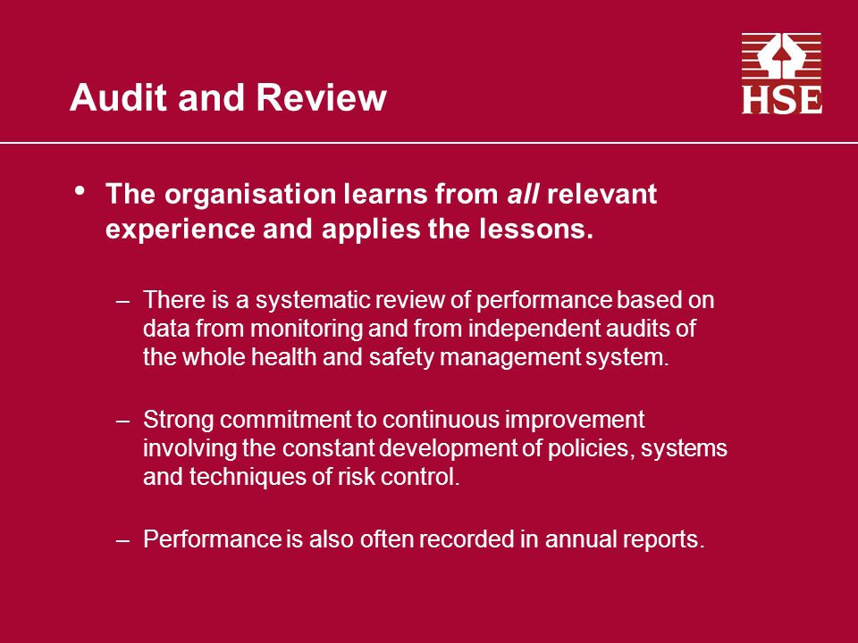 Audit and Review The organisation learns from all relevant experience and applies the lessons.