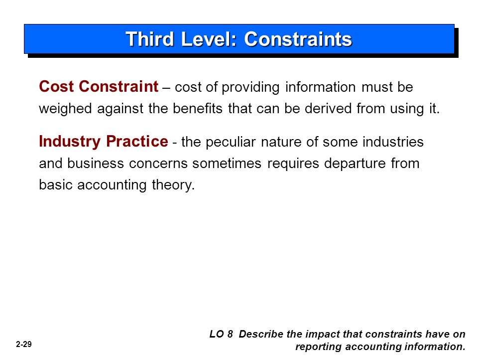 Two major constraints in the presentation of accounting data