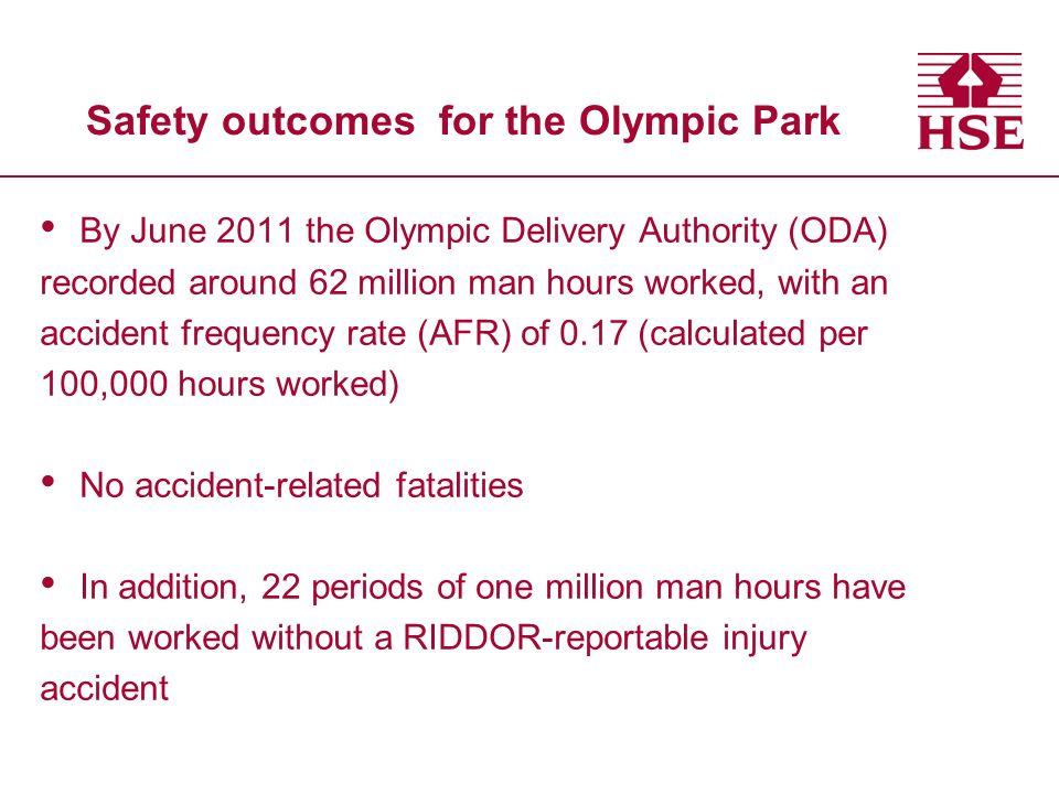 Safety outcomes for the Olympic Park