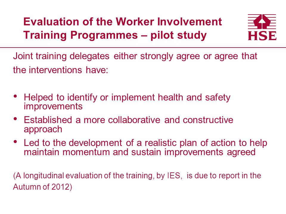 Evaluation of the Worker Involvement Training Programmes – pilot study