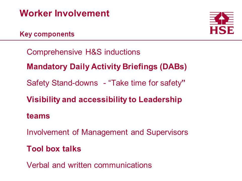 Worker Involvement Key components