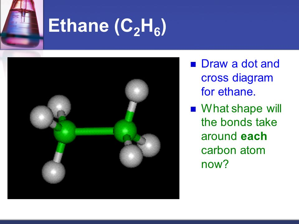 Ethane (C2H6) Draw a dot and cross diagram for ethane.