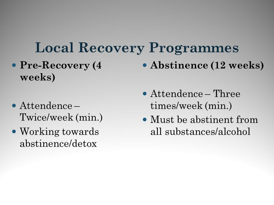 Local Recovery Programmes