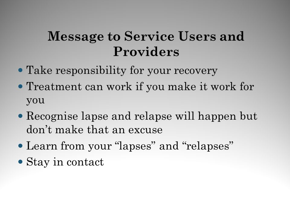 Message to Service Users and Providers