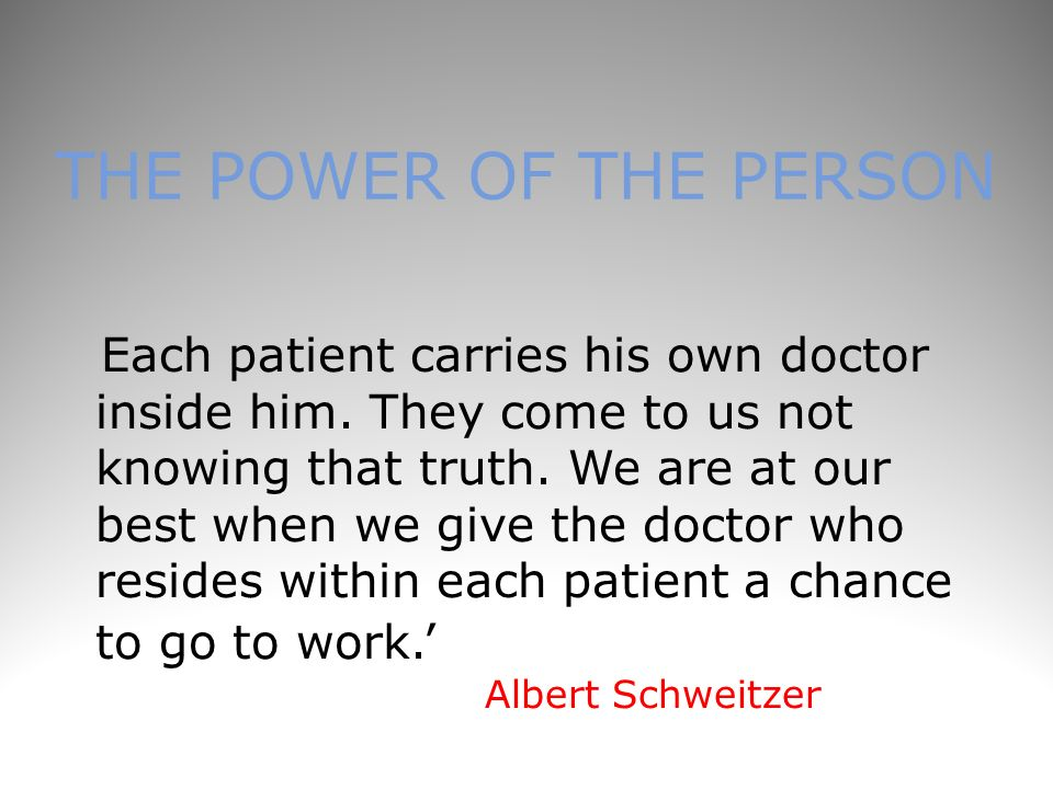 THE POWER OF THE PERSON