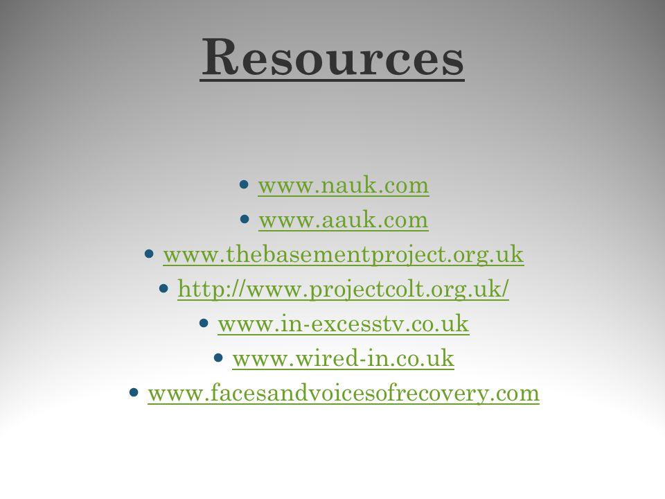 Resources www.nauk.com www.aauk.com www.thebasementproject.org.uk
