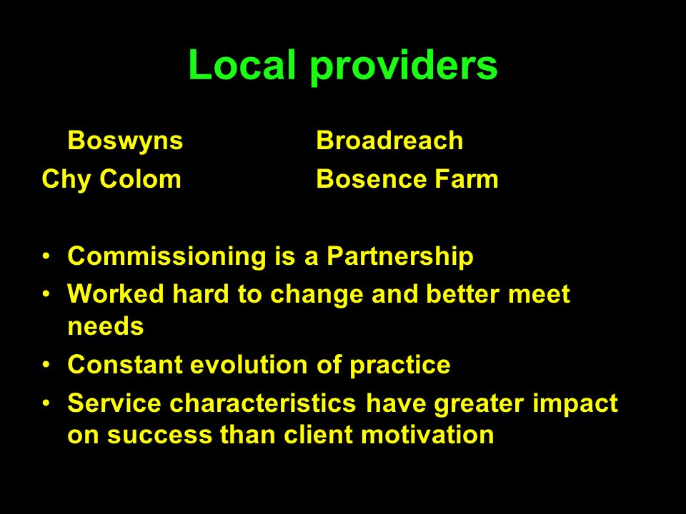 Local providers Boswyns Broadreach Chy Colom Bosence Farm