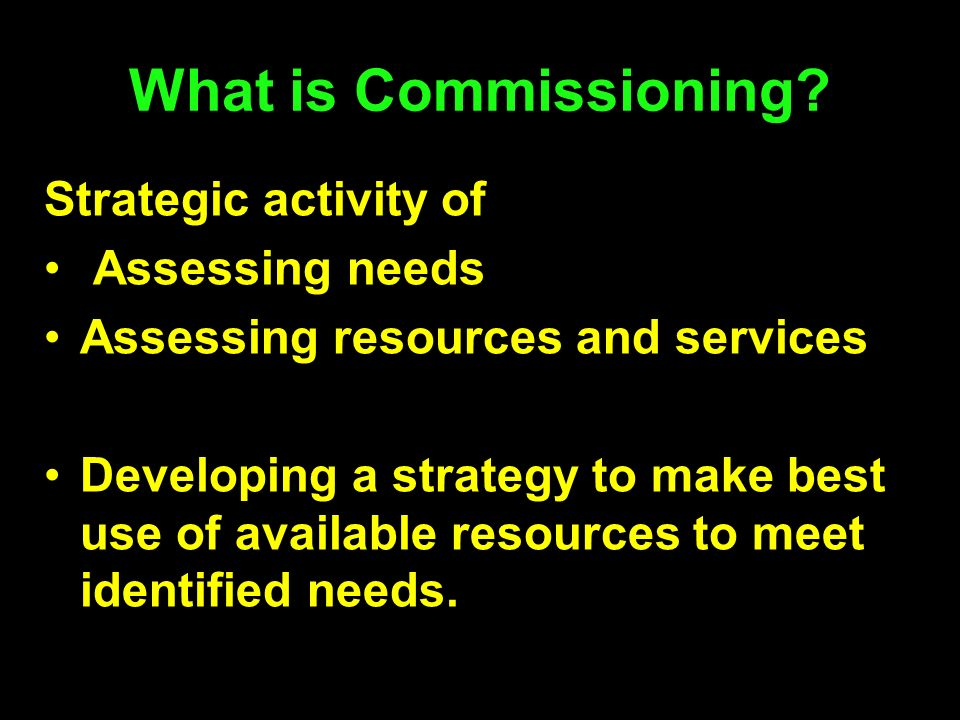 What is Commissioning Strategic activity of Assessing needs
