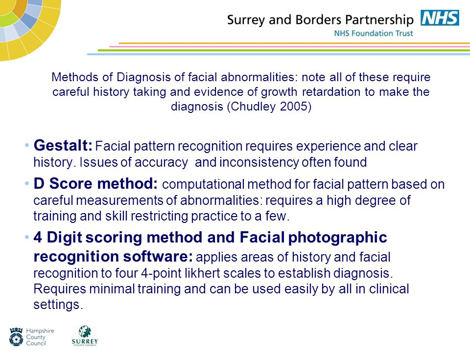 Methods of Diagnosis of facial abnormalities: note all of these require careful history taking and evidence of growth retardation to make the diagnosis (Chudley 2005)