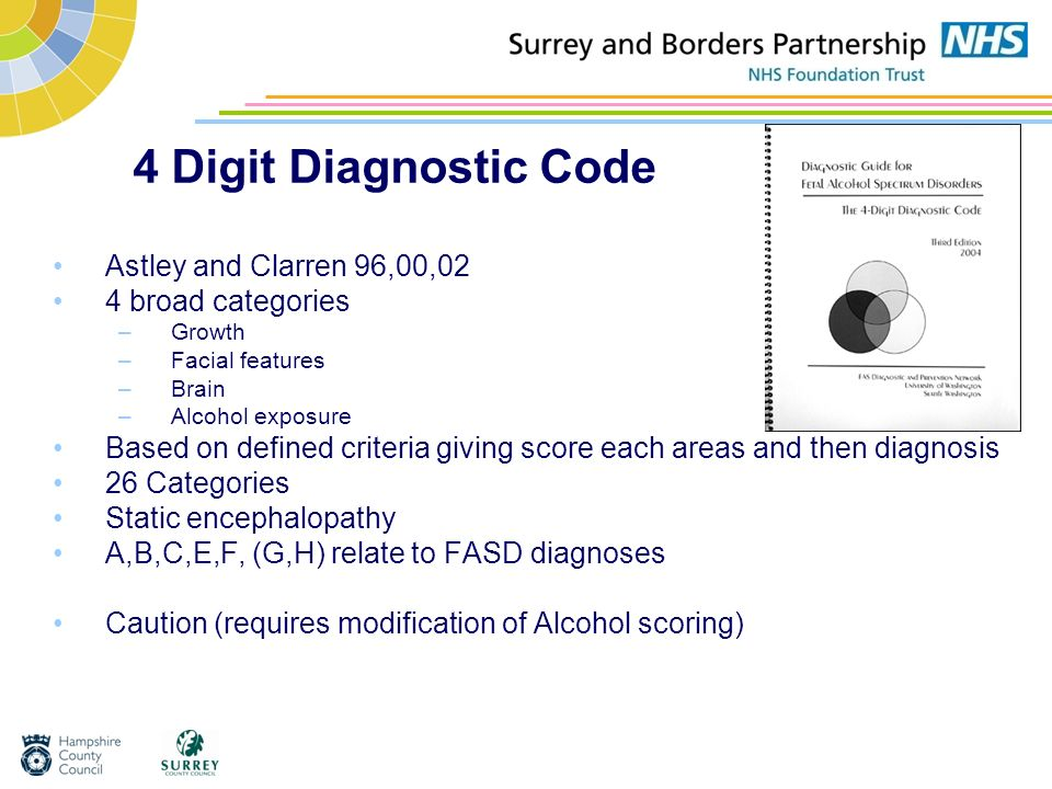 4 Digit Diagnostic Code Astley and Clarren 96,00,02 4 broad categories