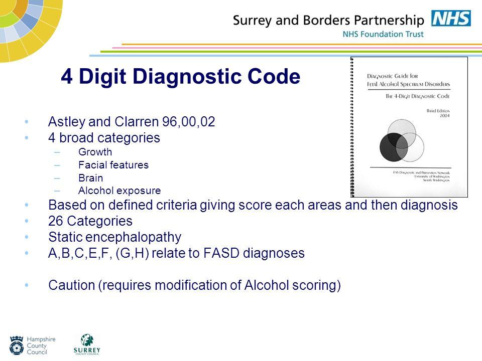 4 Digit Diagnostic Code Astley and Clarren 96,00,02 4 broad categories