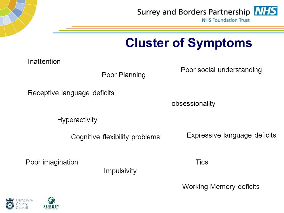 Cluster of Symptoms Inattention Poor social understanding