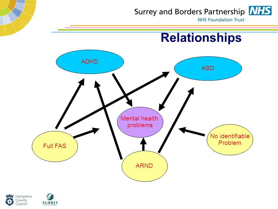 Relationships ADHD ASD Mental health problems No identifiable Problem