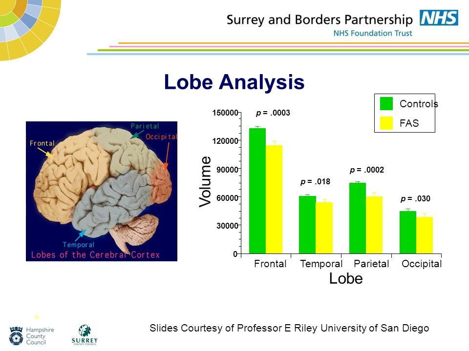 Lobe Analysis * Volume Lobe Frontal Temporal Parietal Occipital