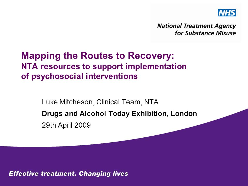 Mapping the Routes to Recovery: NTA resources to support implementation of psychosocial interventions