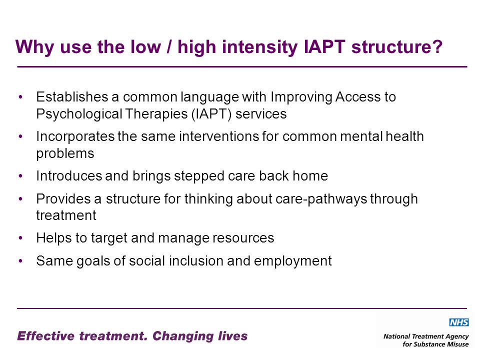 Why use the low / high intensity IAPT structure