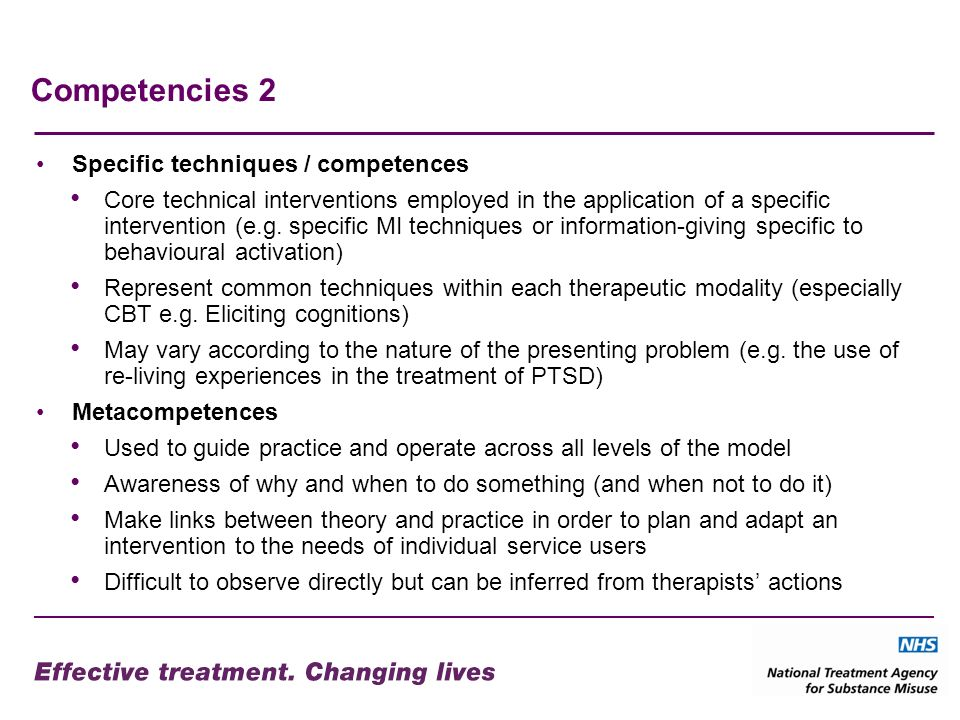 Competencies 2 Specific techniques / competences
