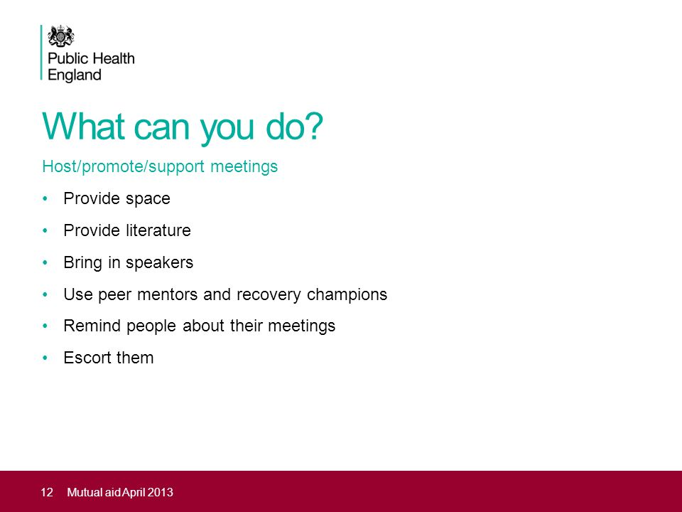 What can you do Host/promote/support meetings Provide space