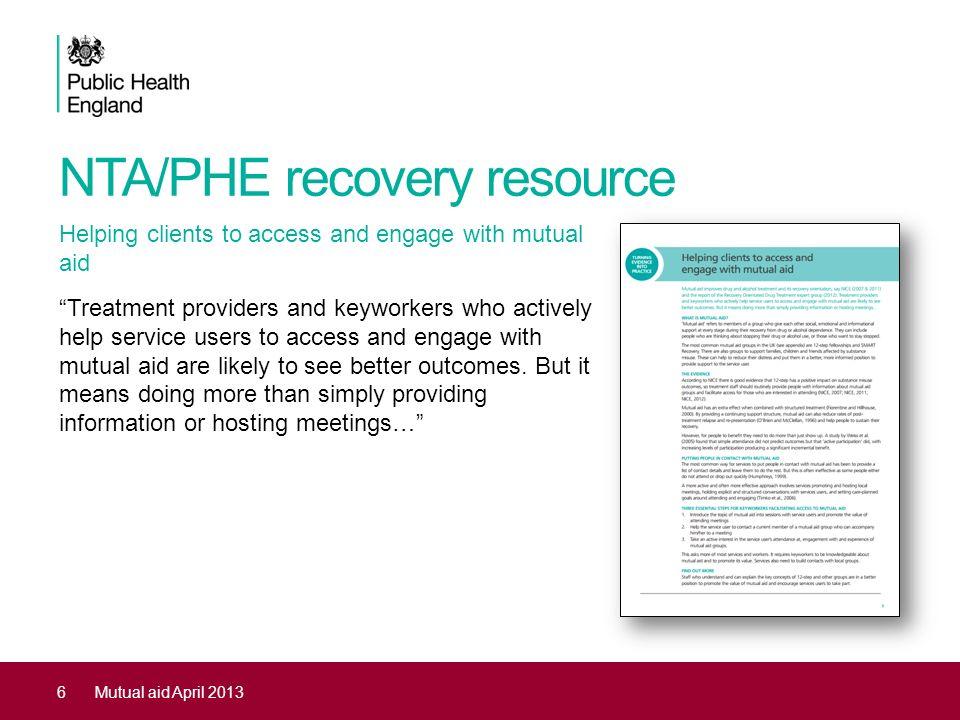NTA/PHE recovery resource