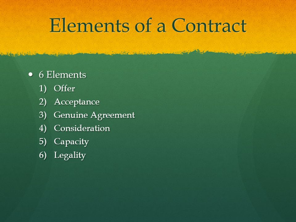 """key elements of a valid contract There is an old statement, """"all contracts are an agreement, but all agreements   a contract must contain these elements: offer and acceptance,."""