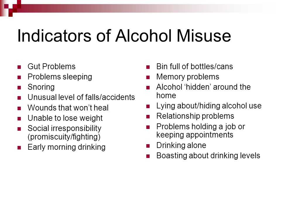 Indicators of Alcohol Misuse