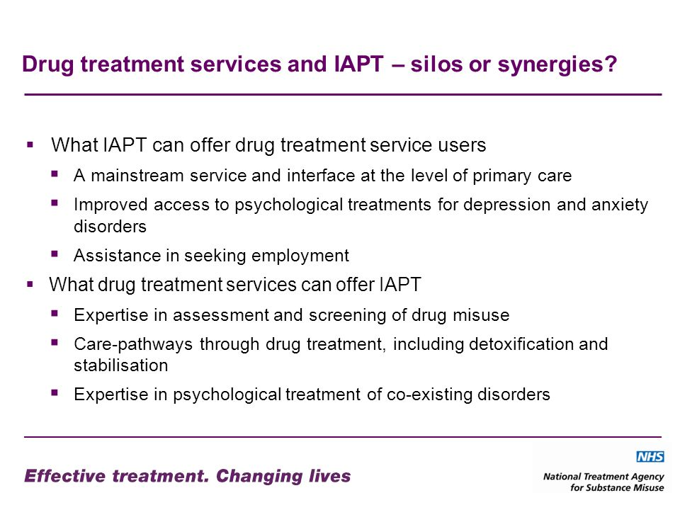 Drug treatment services and IAPT – silos or synergies