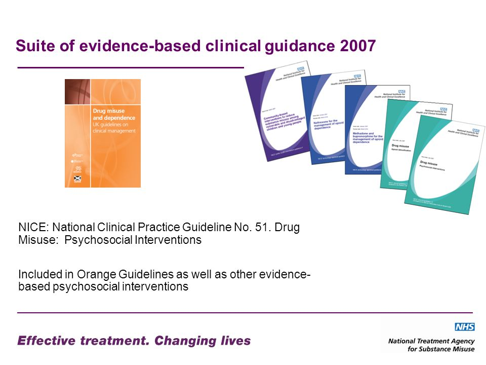 Suite of evidence-based clinical guidance 2007