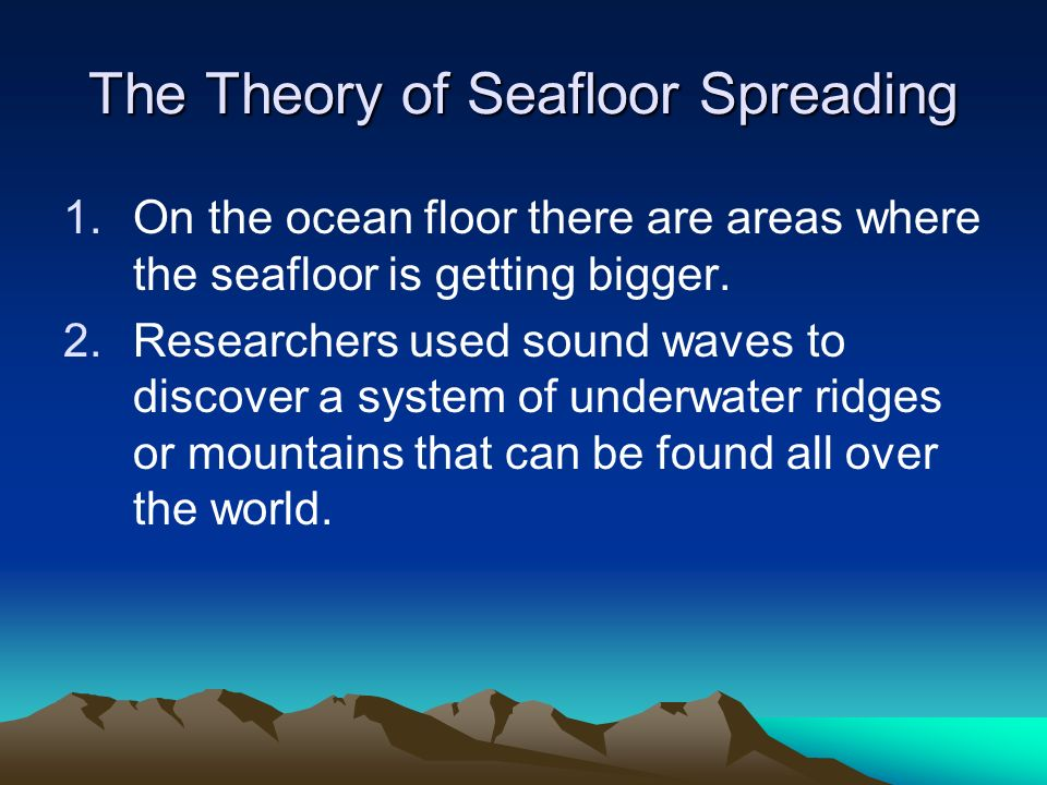 The Theory of Seafloor Spreading