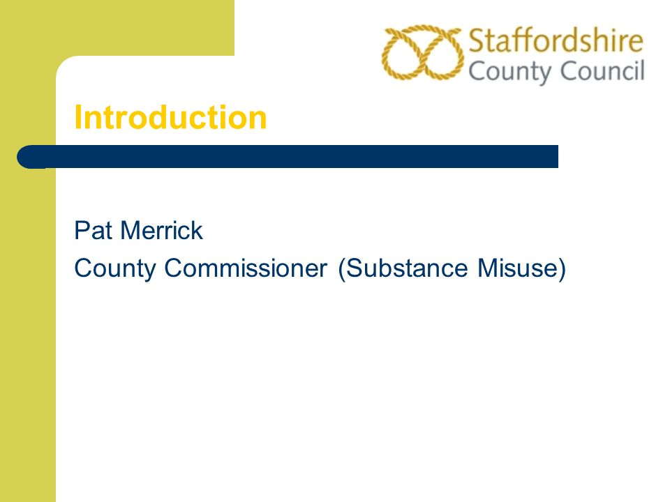 Introduction Pat Merrick County Commissioner (Substance Misuse)